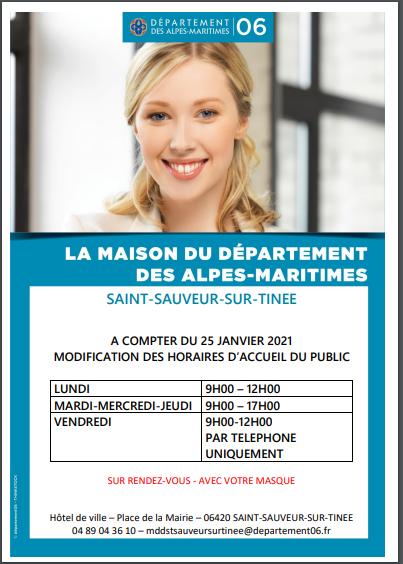 Modification des horaires d'accueil du public de la MDD de Saint-Sauveur-sur-Tinée.
